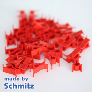 Plastic clips red, PU = 100 pcs.